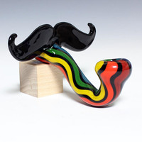 Glass Pipe - Mustache Sherlock - MADE TO ORDER -Hedcraft Glassworks