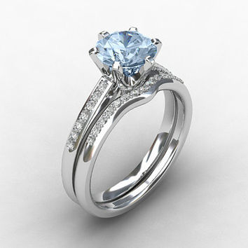 Engagement Ring Set Aquamarine Ring From TorkkeliJewellery On