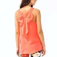 bow-accent-chiffon-tank CORAL IVORY LAVENDER - GoJane.com