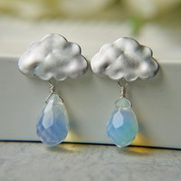 Matte White Gold Rain Cloud Earrings. Rainy Season. Opalite Briolette Rain Drops. | Luulla