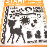 Stamp Set Acrylic Cling Woodland Friends Set of 17 UNUsed  Deer Branch  Sun And Birds Rabbit Squirrel Owl