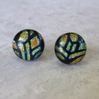 Geometric Pattern Dichroic Earrings, Post - Caper - 1534