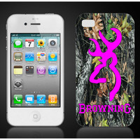browning pink camo iPhone 4 4S iPhone5 or AT&T by SquigglyDoodles