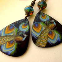 Peacock Guitar Pick Earrings by sandynejedly on Etsy