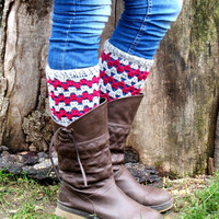 Grey Pink Short Square Knit Boot Cuffs. Chevron Short Leg Warmers. Crochet Boot Cuffs.