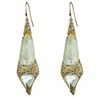 Crystal Encrusted Gold Imi. Aqua Double Shield Earring :: Earrings :: Miss Havisham :: Alexis Bittar