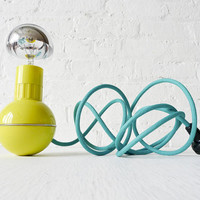 Retro Atomic Mid-Century Wobble Ball Light with Aqua Green Blue Color Cord