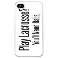 Amazon.com: Lacrosse iPhone Case Play Lacrosse? You'll Need Balls White Background (iPhone 4/4S): Cell Phones & Accessories
