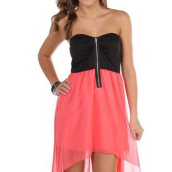 Chiffon Strapless High Low Dress with Exposed Zipper Front