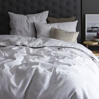 Linen Cotton Blend Duvet Cover + Shams - White