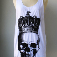 Burlap Skull Crown Royal   White Tunic Tank Top Mini Dress Shirt Women
