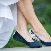 Wedding Flats - Navy Blue Wedding Shoes/Ballet Flats with Ivory Lace. US Size 8