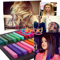 Pro 48 Colors Non-toxic Temporary Pastel Hair Extension Dye Chalk SS