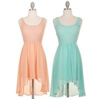 High-Low Sleeveless Dress with Lace Top &amp; Round Neckline