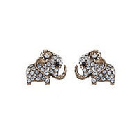 A pair of small 14 carat elephant stud earrings