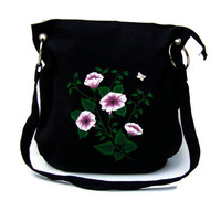 Black  Messenger Bag With Pink and White Flowers