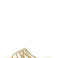 Cesare 16 Gold Beaded Rhinestone Thong Sandals
