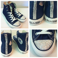Junior hi top crystal converse - in blue