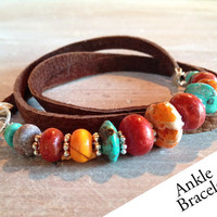 Beaded Triple Leather Anklet by ChickpeaDesignStudio