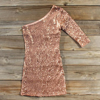 Golden Moon Party Dress in Rose Gold, Sweet Women&#x27;s Bohemian Clothing