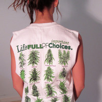 Marijuana Crop Top T Shirt XS S M Tank OOAK Life Choices Mary Jane Pot Acid Grunge Club Kid Boho Hippie Gypsy Festival Wear