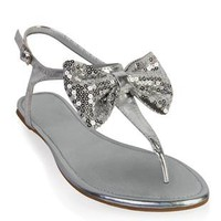 metallic sandal with sequin bow  - debshops.com