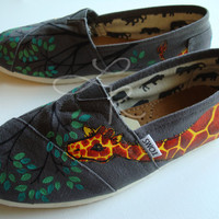 my original giraffe desgin-hand painted on TOMS shoes-made to order