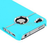 DELUXE BABY BLUE COVER W/CHROME for iPHONE 4G 4S 4 CASE
