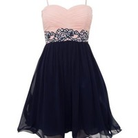 New Look Mobile | Pink and Navy Jewel Lace Waist Prom Dress