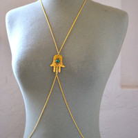 Gold Hamsa Hand Body Chain, Body Jewelry, Body Chain, Boho Jewelry