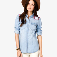 Plaid Yoke Chambray Shirt