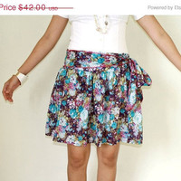 ON SALE  Purple Floral Mini Skirt Screenprinted by LoNaDesign
