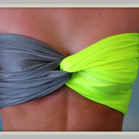 Chartreuse And Grey Spandex Bandeau Top