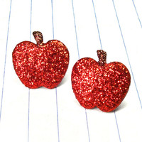 red glitter apple earrings  apple earrings  by strawberryuniverse