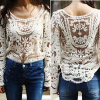 Beige lace long sleeve shirt