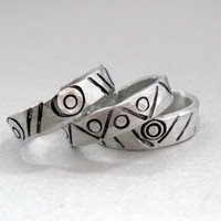 Set of THREE Geometric Tribal Bands  Hand Stamped by emerydrive