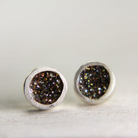 organic silver post earrings with white gold sparkles organic silver post earrings glitter jewelry
