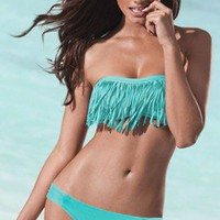 Fringe Bandeau &amp; Foxy Tab Bottom - Tiffany