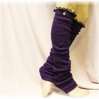 LW23 Purple leg warmers Dancer extra long