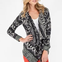 Tomahawk Wrap Cardigan in Black and White :: tobi