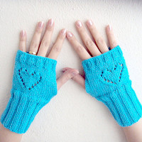 Turquoise Fingerless Gloves ,Winter Accessories ,Valentines Day Gift ,under 10 ,under 20 ,valentines day sale ,big sale