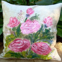 Pink Roses Pillow cover by creativedesignsstore on Etsy