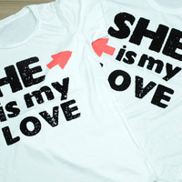 HE SHE Couple T Shirts flocked print silk screen 2 pcs. for men&women
