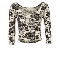 Cream and Black Floral 3/4 Sleeve Crop Top