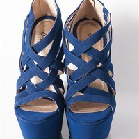 Criss Cross Wedge Sandals - Royal at Lucky 21 Lucky 21