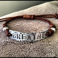 BREATHE ID Bracelet silver leather Hand Stamped by DESIGNbyANCE