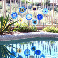 Garden Art Glass Plate Flower Decor Upcycled Glassware by jarmfarm