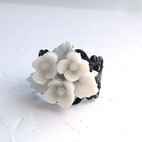 Whte Flower Black Filigree Adjustable  Ring by Plumbeadacious