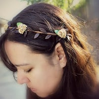 Gold Rose Bohemian Halo. Floral Crown, Flower Hair Crown. Woodland, Wedding. Spring, Hair Wreath, Boho, Bridal, Hair Accessories, woodland
