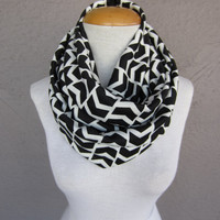 Chevron Infinity Scarf - Black and White Chevron Scarf - Circle Scarf with Small Chevrons